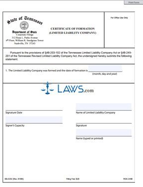 Form SS-4232 Certificate of Formation