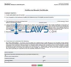 Form BOE 230 California Resale Certificate